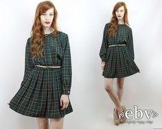 Vintage 80s Pleated Plaid Secretary Mini Day Dress S M by shopEBV