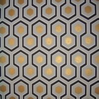 """WALNUT WALLPAPER  Hicks Hexagon  Product Code:66-8056  11 yards by 20.5"""" wide  Design Repeat: 4"""" straight match  Roll Sq. Footage: 56.37 sq. ft."""
