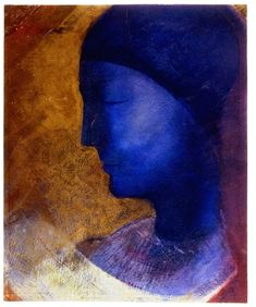 Odilon Redon, La Cellule d'Or, a drawing in oil and metallic paint.  Vintage Printable - Portraits