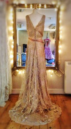 Metallic gold lace over mocha silk satin wedding dress by Joanne Fleming Design