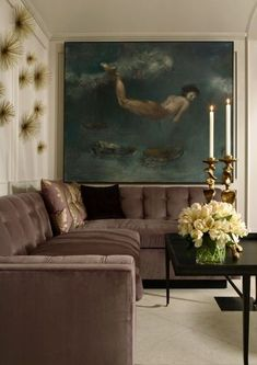 Muted jewel tones in an elegant living room by Melanie Turner | Places  |  Great Rooms and Living Rooms