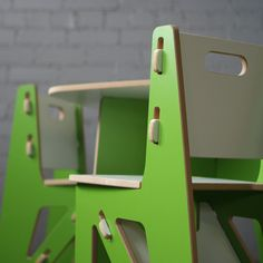 Green modern kids table & chairs. Perfect in the kids room, playroom and nursery.
