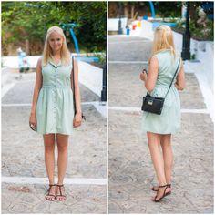 LTB dot dress, Mango bag, H&M Sandals