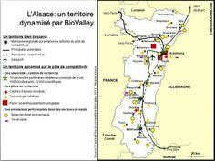 L'Alsace, un territoire de l'innovation dans le domaine des biotechnologies, dont le pôle de compétitivité BioValley est le principal acteur. Source:© HISTGEOGRAPHIE.COM, d'après Pôle de compétitivité BioValley, 2012; Région Alsace