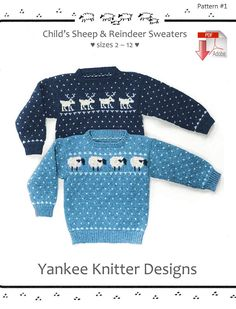 469b188291 Child s Sheep and Reindeer Sweaters - Yankee Knitter - Pattern download