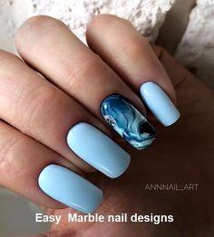 25 Marble Nail Design with Water & Nail Polish 2 25 Marmornagel Design mit Wasser & Nagellack 2 Marble Nail Designs, Marble Nail Art, Best Nail Art Designs, Water Marble Nails, Gel Nail Polish Designs, How To Marble Nails, Beach Nail Designs, Blue Nail Designs, Creative Nail Designs