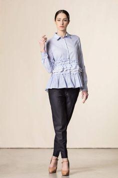 Camicia con ruches blu #dressingfab #fashion #shopping #shoponline