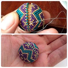 Beaded bead tute is entirely in pictures of stages. No directions but you can count it out. #Seed #Bead #Tutorials