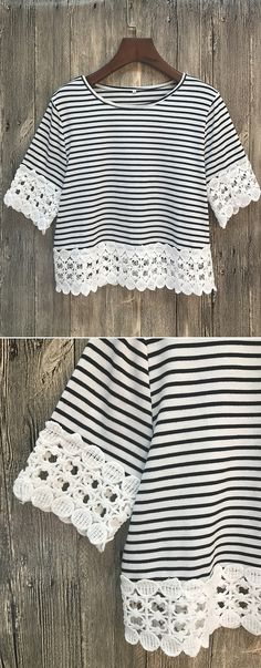 Change your outfit of the day. This crop top is detailed with lace paneled hem, round neckline, color block striped print.