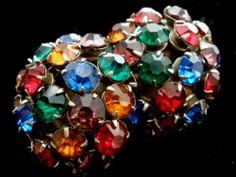 Art Deco Czech Rhinestone Earrings Multi Colored Glass Screwback Antique Silver   eBay