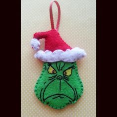 Grinch Christmas Ornament,How the Grinch stole Christmas, christmas decorations, Grinch, Felt ornament Grinch Christmas Decorations, Grinch Ornaments, Grinch Stole Christmas, Felt Decorations, Felt Christmas Ornaments, Handmade Christmas, Christmas Fun, Felt Crafts, Holiday Crafts