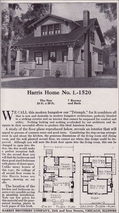 Co. Kit Home Catalog - Plan - Side-gabled Craftsman-style Bungalow Craftsman Style Bungalow, Modern Craftsman, Modern Bungalow, Craftsman Bungalows, Vintage House Plans, Vintage Homes, Craftsman Front Doors, Best Front Doors, Cabin Plans