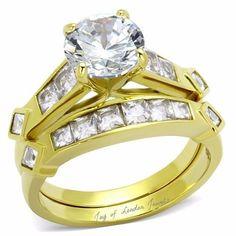 A Perfect 14K Gold 2.8CT Round Cut Russian Lab Diamond Wedding Band Bridal Set