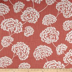 """Robert Allen Crypton Toile Stems Coral from @fabricdotcom  Screen printed on (approx. 6.5 ounce) cotton slub duck, this versatile, medium weight fabric is perfect for window accents (draperies, valances, curtains and swags), accent pillows, bed skirts, duvet covers, slipcovers, upholstery and other home decor accents. Create handbags, tote bags, aprons and more. Colors include white and grey. This fabric has 100,000 double rubs. **Crypton Home Fabric is an affordable """"performance fabric"""" ..."""