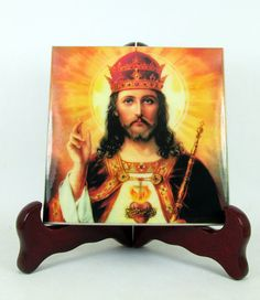 A new #religious icon on tile available on #Etsy. #Jesus #Christ the #King - handmade in Italy - #catholic gift idea https://www.etsy.com/listing/492896698