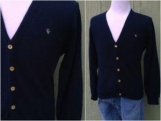 1970s Men's Nayv Blue Christian Dior Golf Sweater, Size M by HiddenTreasureHunter on Etsy