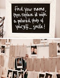 Cool idea for any wedding simply tell guest to take a pic with a polaroid mini 8 camera which can range from approximately $89.00 - $100.00 and peg the photo over the name tag so that way you will have a picture of all the guest that came to your wedding, you can also use this for birthdays or other events