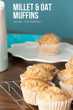 Millet and Oat Muffins - a school-safe, nut-free snack for the lunch box. Breakfast Scones, Vegan Breakfast, Breakfast Ideas, Lunch Box Recipes, Snack Recipes, Lunch Ideas, Nut Free Snacks, Oat Muffins, Best Vegan Recipes