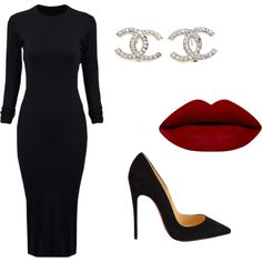 Sleek by jturpin on Polyvore featuring WithChic, Christian Louboutin, Chanel, women's clothing, women's fashion, women, female, woman, misses and juniors