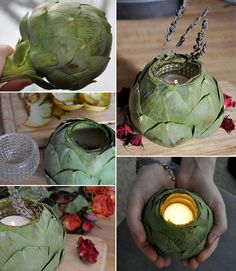 Check out these BEAUTIFUL DIY artichoke candle holders, compliments of our friends over at DognBird . Diy Candle Holders Wedding, Wood Candle Holders, Candle Stand, Votive Holder, Wedding Reception Centerpieces, Diy Centerpieces, Decorations, Wedding Arrangements, Diy Decoration