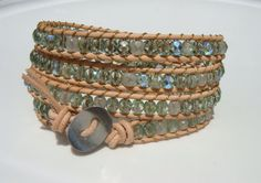 Green Beaded Leather Wrap Bracelet by tinacdesigns on Etsy