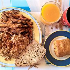 """Always something special for Sunday mornings: Scrambled eggs with refried beans, leftover rotisserie chicken, smoked turkey and lots of cheese, oven baked sweet potato """"fries"""", a slice of sourdough and a chocolate filled croissant. #thenewbreakfasteverydayproject #livingmylifemyway"""