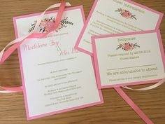 Peach Floral flat wedding invitation suite from The House of Airey. Perfect for classic, rustic wedding themes, colours can be changed to match your colour scheme.