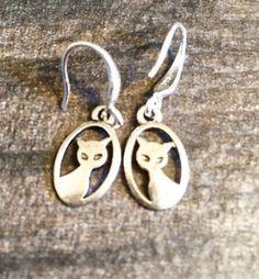 Minimalist Silver Cat Earrings, Loop earrings, Drop Dangle Earrings, Silver Tone Earrings Simple Bohemian Hobo Style Earrings, Gift Ideas