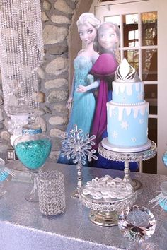 Dessert table from Frozen Themed Joint Birthday Party at Kara's Party Ideas. See more at  karaspartyideas.com!