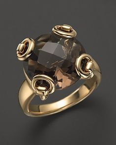 Gucci 18K Yellow Gold Smokey Quartz Horsebit Cocktail Ring | Bloomingdale's