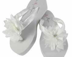 222d08a7868bc White   Ivory Lace Chiffon Wedding Flip Flops for the Bride   Bridesmaids