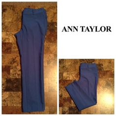 "Ann Taylor Pants Ann Taylor Pants. Skinny Leg Pants. Rich Blue Color. Size 6. Comfortable and made of 53% Cotton and 41% Polyester and 6% Spandex. Laying flat ""15. Rise ""9. Length ""34.5. Inseam ""25.5. This item is in Good condition, Authentic and from a Smoke And Pet free home. All Offers through the offer button ONLY. I Will not negotiate Price in the comment section. Thank You Ann Taylor Pants Skinny"