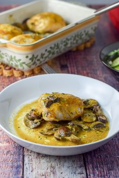 This baked maple mustard chicken thighs recipe is so delicious! It's saucy and has plenty of mushrooms which makes it a great meal! https://ddel.co/mamuchth