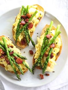 Scrambled Egg and Roasted Asparagus Toasts with Pancetta at foodiecrush.com #recipe #breakfast #brunch