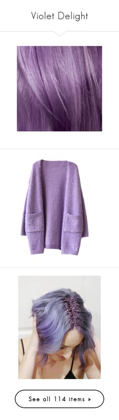 """Violet Delight"" by willoz on Polyvore featuring beauty products, haircare, l'oréal paris, tops, cardigans, outerwear, jackets, knitwear cardigans, purple cardigan et purple top"