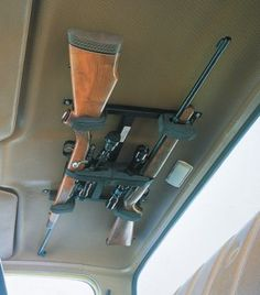 Deters theft by securing long guns out of sight. Mount these racks in a  variety of locations - overhead in a truck cab, in camper shells,  airplanes, boats, vans or recreation vehicles.  Available:  One-Gun Rack,  Two-Gun Rack.