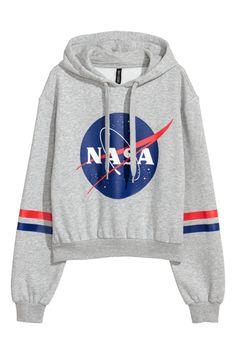 Short hooded top - Light grey/NASA - Ladies | H&M GB 1
