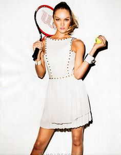 Who of my tennis friends are gonna show up on the courts wearing this??  NOT ME!!!  From February's Harpers Bazaar... Wilson goes high fashion!
