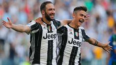 Juventus' Argentinian forward Gonzalo Higuain celebrates with teammate Argentinian forward Paulo Dybala after scoring a goal during the Italian Serie. Juventus Fc, Juventus Stadium, Best Football Team, Football Match, Messi, Arsenal Transfer News, Football Transfers, Live Tv Streaming, Nude Beach