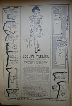 PAR AMOUR DES POUPEES :: 1934-01-21 Un tablier pour Francette (35 cm)