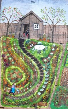 garden illustration Marie Louise Batardy The next thing I can find for the creator of this piece. Garden Painting, Garden Art, Garden Design, Dream Garden, Garden Illustration, Backyard Vegetable Gardens, Naive Art, Outsider Art, Folk Art