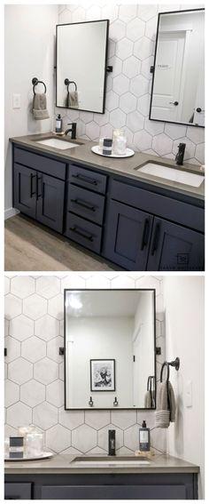 Amazing DIY Bathroom Ideas, Bathroom Decor, Bathroom Remodel and Bathroom Projects to aid inspire your master bathroom dreams and goals. Bathroom Vanity Makeover, Diy Bathroom, Double Sink Bathroom, Double Sink Vanity, Bathroom Sink Vanity, Modern Bathroom, Cabinet Makeover, Double Sinks, Bathroom Ideas