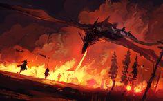 Download wallpapers dragon, warriors, fire, battle, art