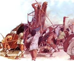Ajax defends the Achaean Ships at Troy, c. Artwork by Peter Connolly. Mycenaean, Minoan, Ancient Troy, Greco Persian Wars, Bronze Age Civilization, Greek Warrior, Atlantis, Trojan War, Archaeological Discoveries