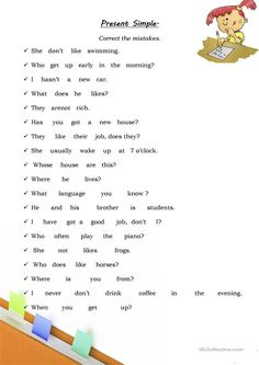 Present Simple Worksheet: Correct The Mistakes - English ESL Worksheets English Units, Kids English, English Grammar Tenses, English Vocabulary, English Textbook, Grammar Practice, Grammar Lessons, Learn English Words, English Lessons