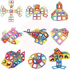 100 Piece Magnetic Blocks Building Toys For Boys Girls Preschool Educational Stacking Toy 3D Magnet Building Construction Kit for Kids By Mags Pro >>> Be sure to check out this awesome product. (This is an affiliate link)