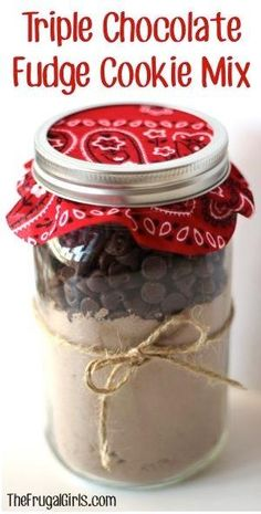 Triple Chocolate Fudge Cookie Mix in a Jar! ~ from TheFrugalGirls.com ~ the perfect gift for your favorite Choc-O-Holic... it makes AMAZING cookies!! #masonjars #thefrugalgirls by rosebud2