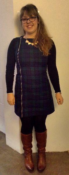 Tartan exposed zip dress.