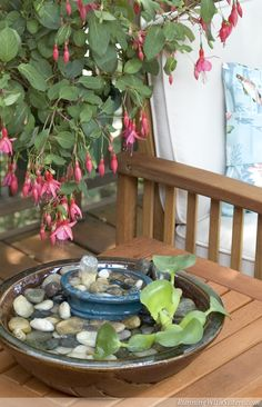 Wonderful Waterfall Birdbath Fountain - Make a tabletop fountain out of ceramic planters, a simple pump, and river rocks!