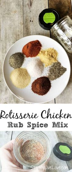 Make homemade rotisserie chicken with this rotisserie chicken spice rub mix! It's a great mix that works well in many chicken dishes.